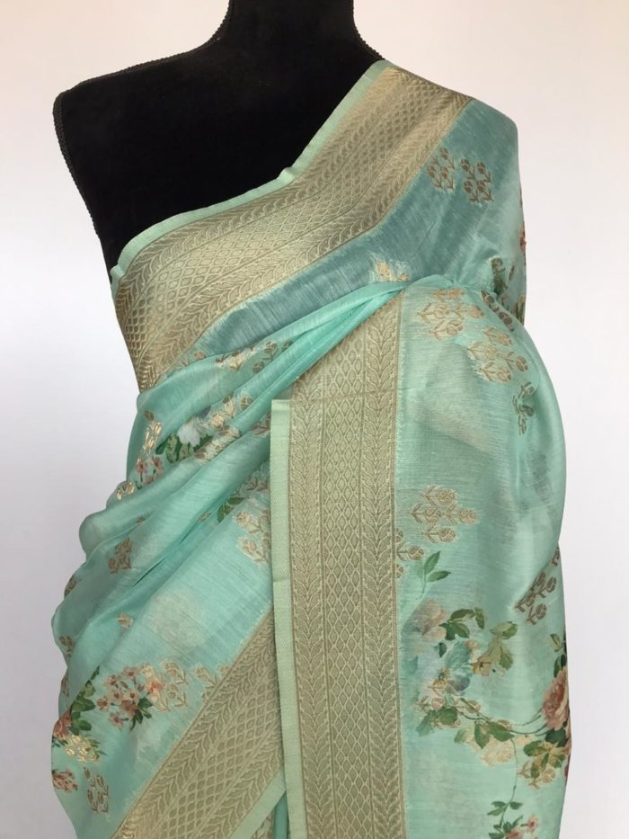 Turquoise Linen Silk Saree with Beautiful Prints along with Antique Zari Border