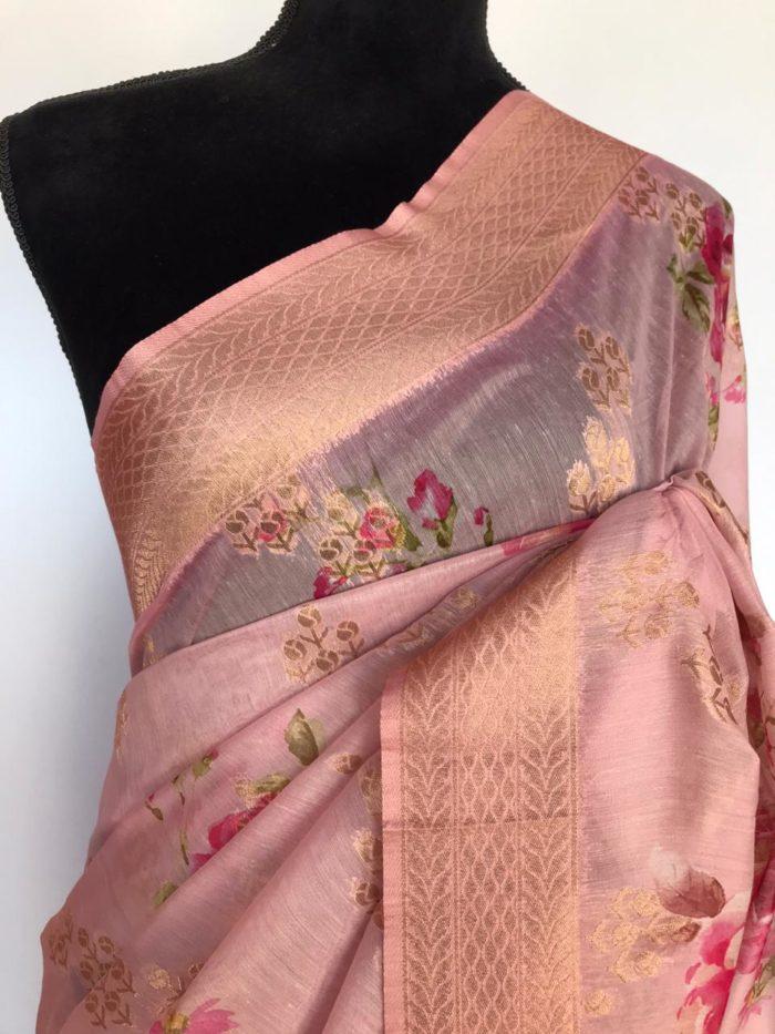 Baby Pink Linen Silk Saree with Beautiful Prints along with Antique Zari Border