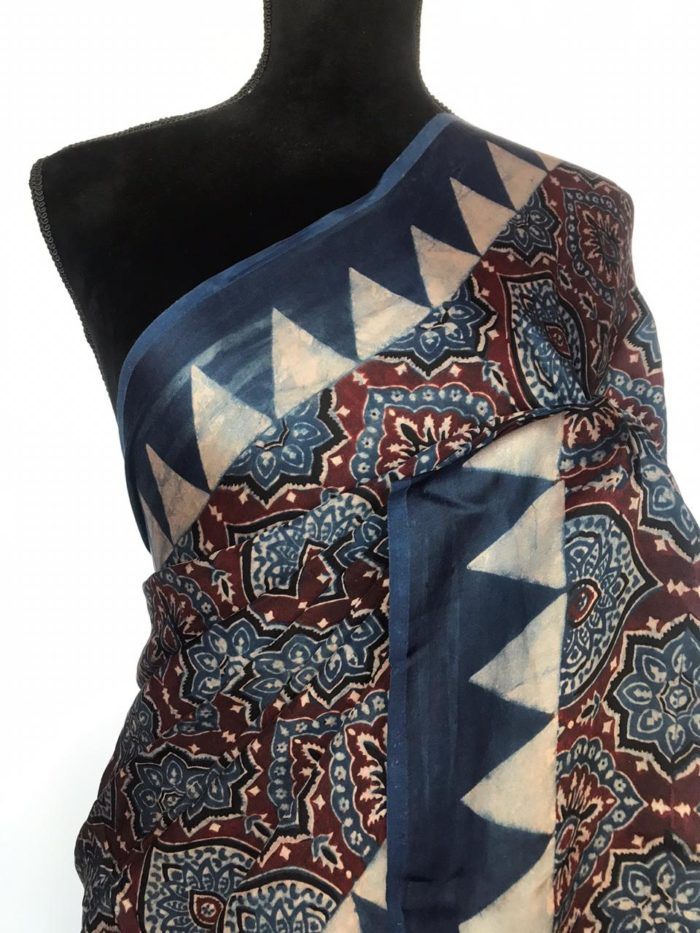Indigo Modal Silk Saree with Ajrakh Hand Block Prints