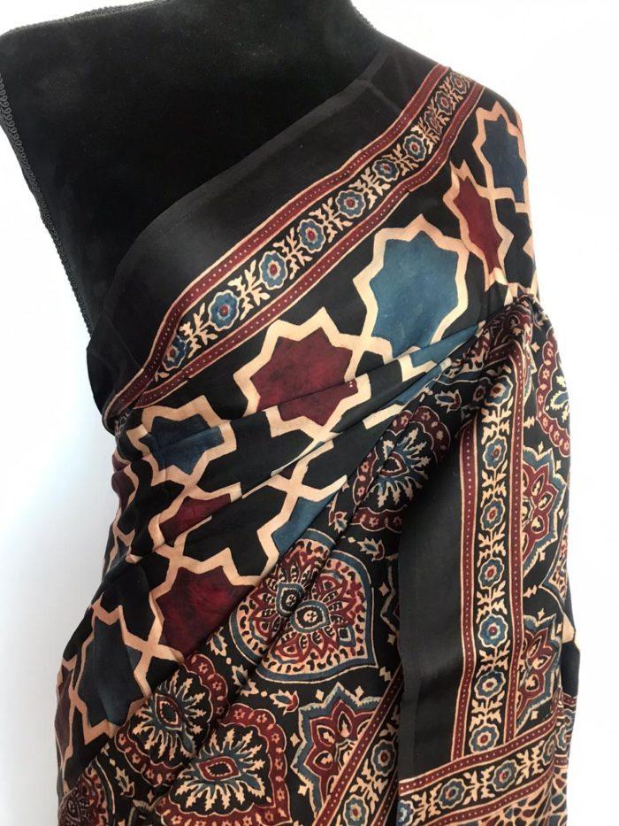 Multicolor Ajrakh Modal Silk Saree with Ajrakh Hand Block Prints