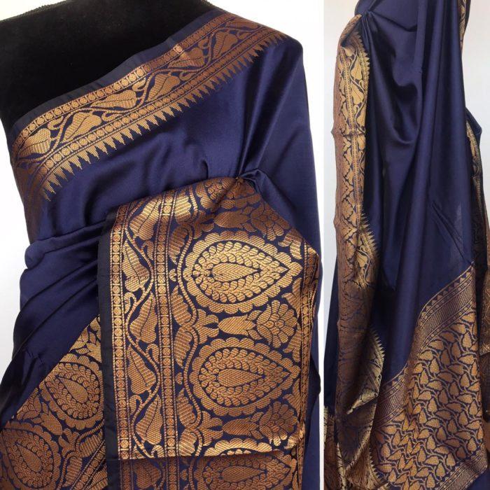 Navy Blue Banarasi Silk Saree with gold zari buttas all over
