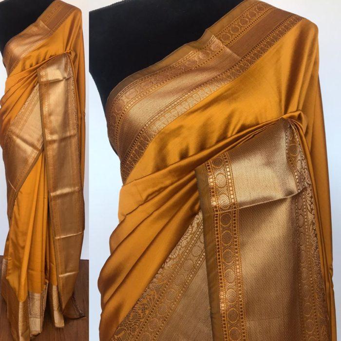Mustard Banarasi Silk Saree with gold zari buttas all over