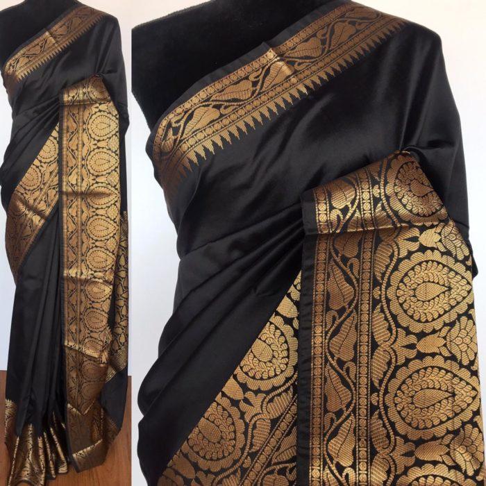 Black Banarasi Silk Saree with gold zari buttas all over