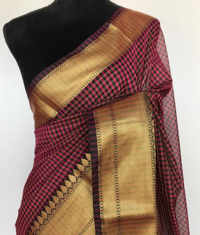 Pink Cotton Silk Saree in Chequered Pattern