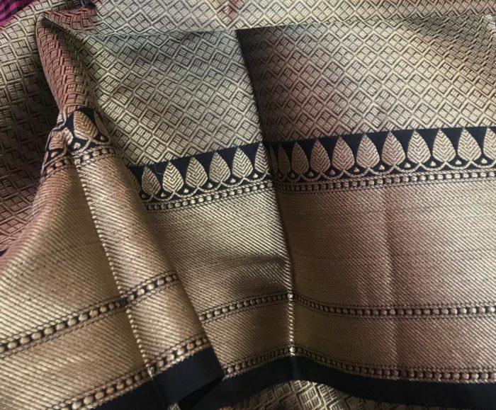 Black Cotton Silk Saree in Chequered Pattern