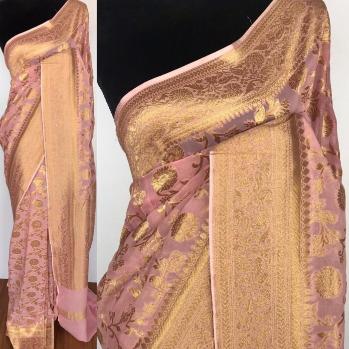 Baby Pink Banarasi Silk Saree In Georgette with woven zari motifs