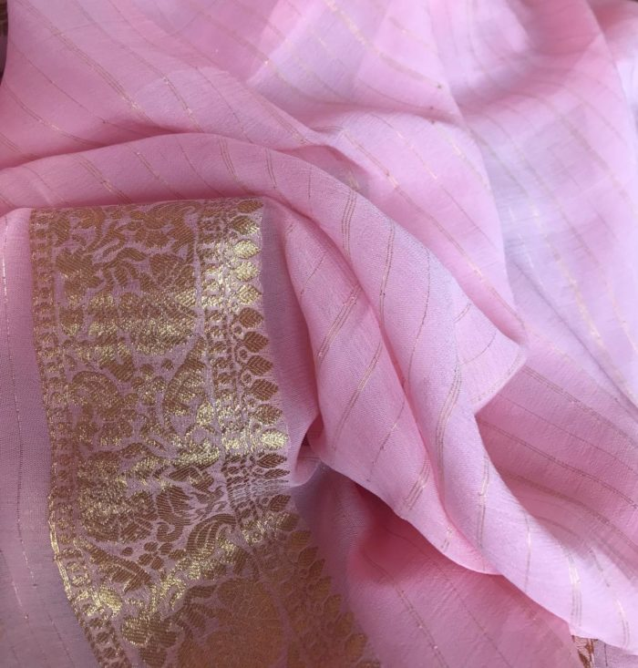 Baby Pink Banarasi Silk Saree In Georgette with woven zari motifs