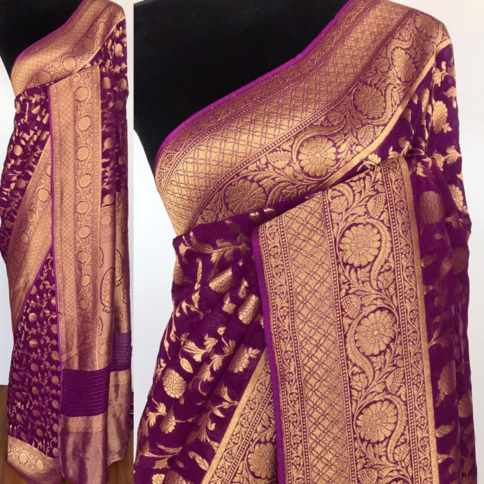 Dark Purple Banarasi Silk Saree In Georgette with woven zari motifs