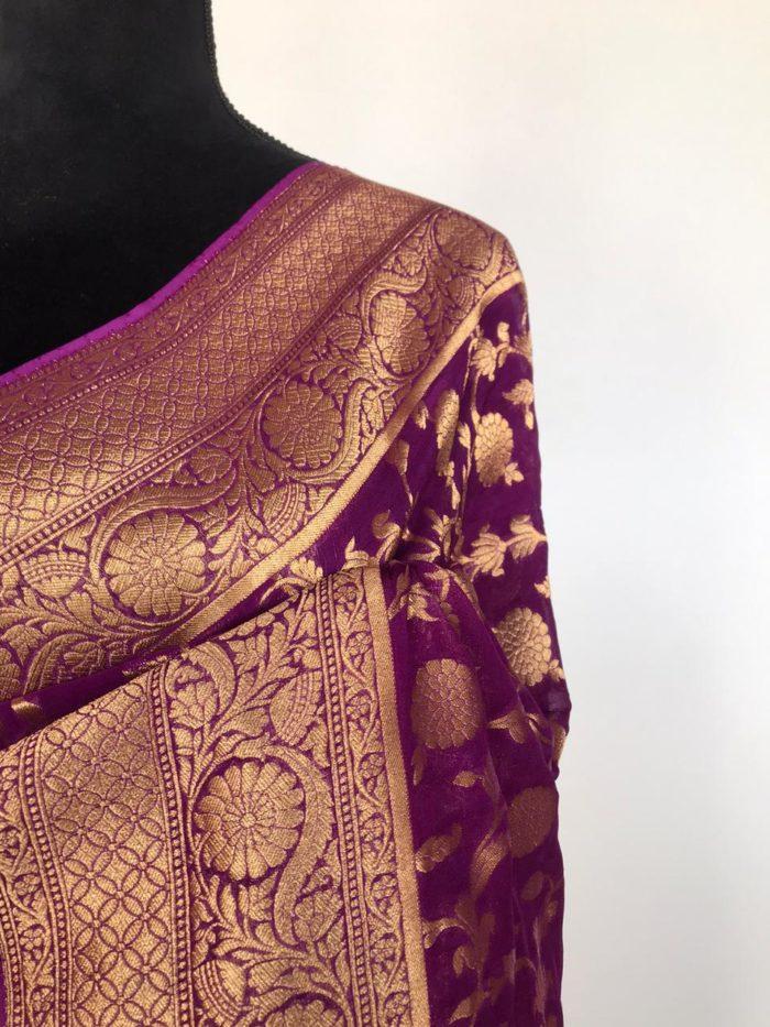 Dark Purple Banarasi Silk Saree In Georgette with woven zari motifs