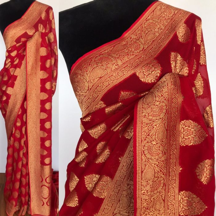 Red Banarasi Silk Saree In Georgette with woven zari motifs