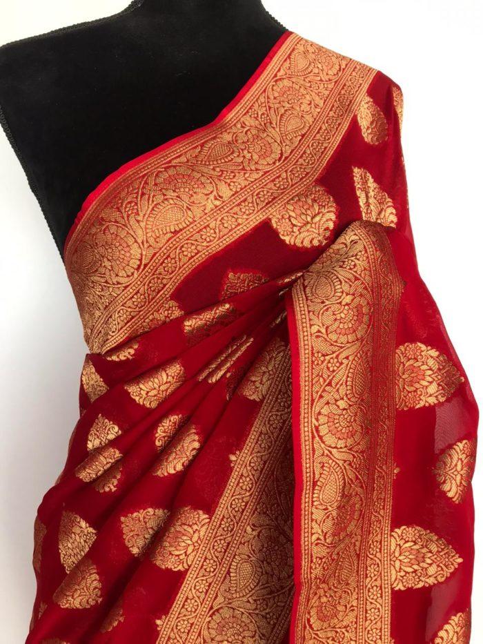 Red Banarasi Silk Saree In Georgette with woven zari motifs