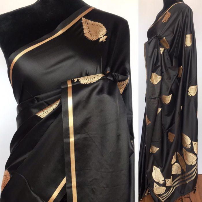 Black Satin Silk Saree with Zari Weaves