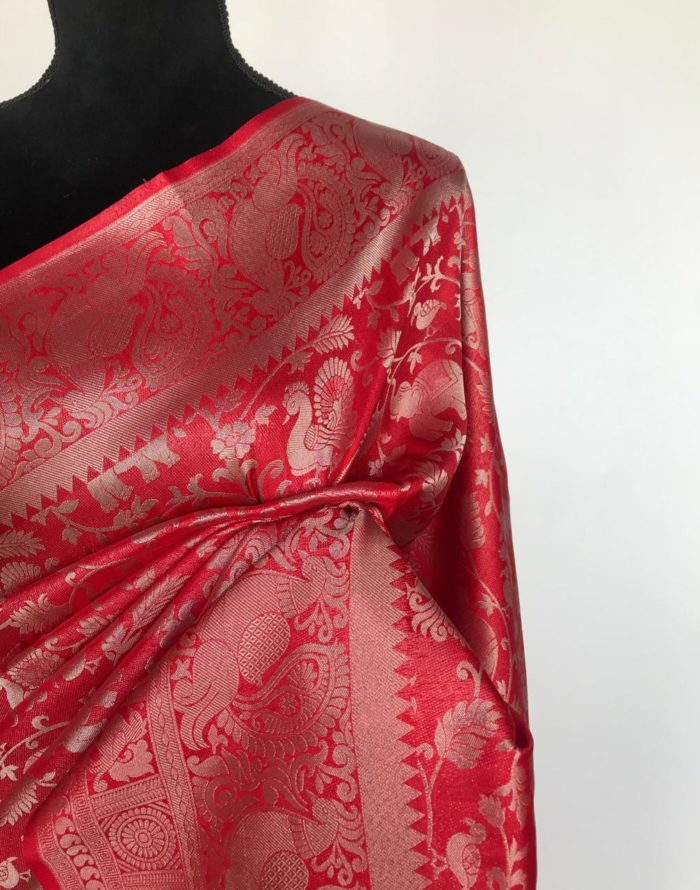 Red Banarasi Silk Saree with Silver Zari Weaves