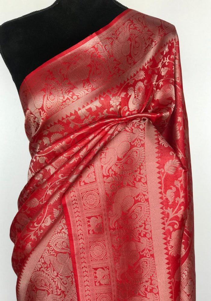 Red banarasi saree with silver zari