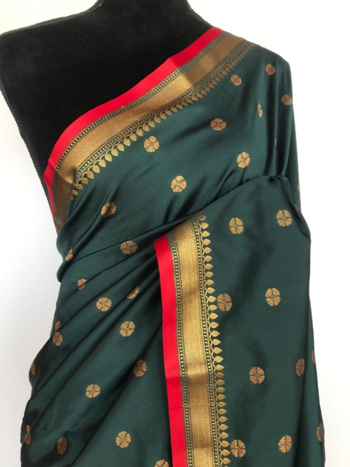 Hunter Green Banarasi Silk Saree with antique gold zari buttas
