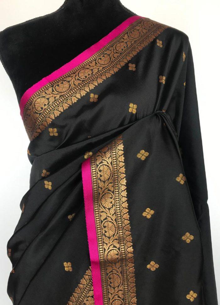 Black Banarasi Silk Saree with antique gold zari buttas