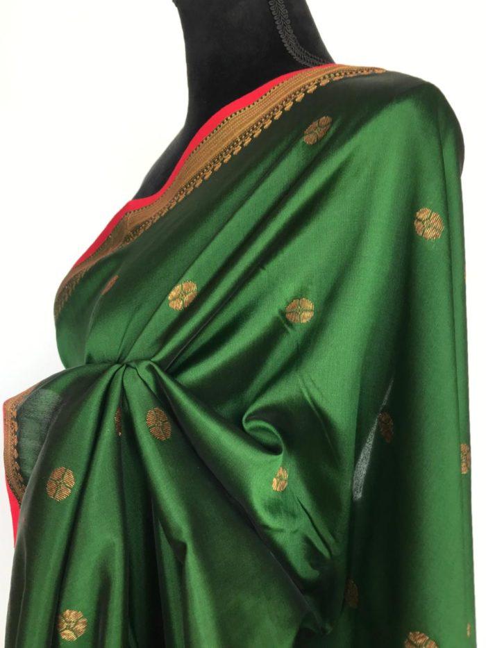 Green Banarasi Silk Saree with antique gold zari buttas