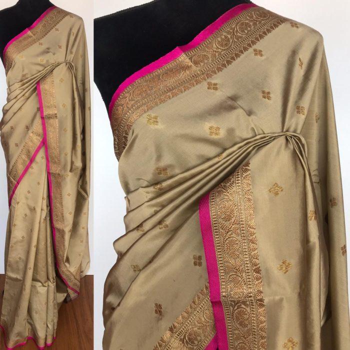 Beige Taupe Banarasi Silk Saree with antique gold zari buttas