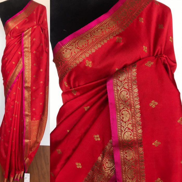 Red Banarasi Silk Saree with antique gold zari buttas and pink selvedge