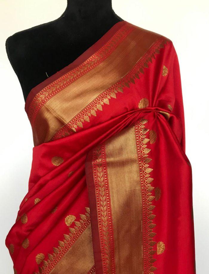 Red Banarasi Silk Saree with antique gold zari buttas