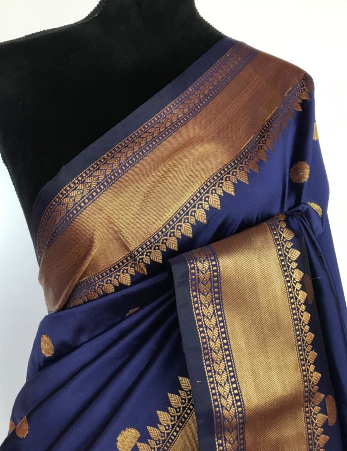 Navy Blue Banarasi Silk Saree with antique gold zari buttas