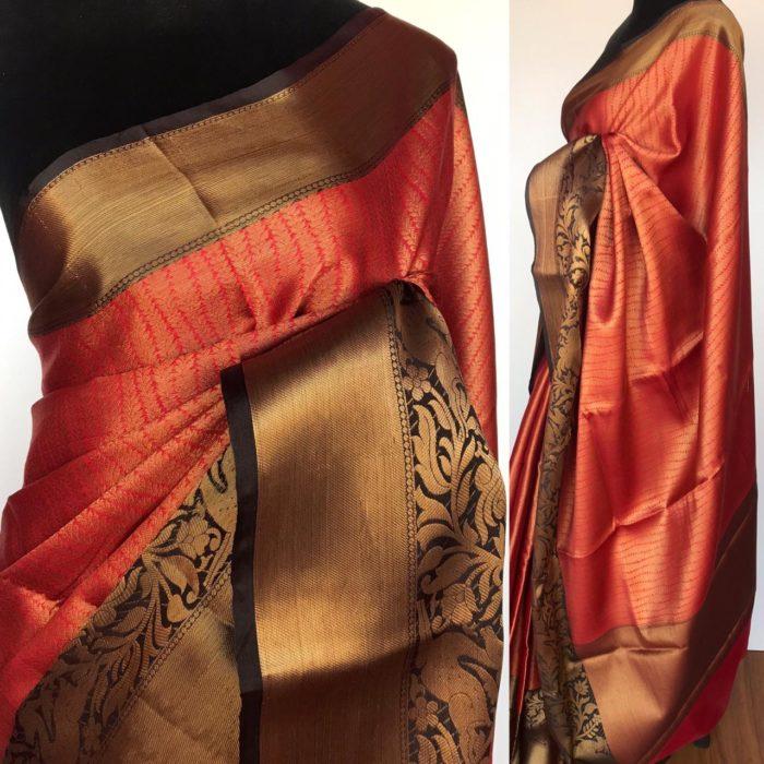 Brick Red Kora Silk Saree with Gold Zari Weaves