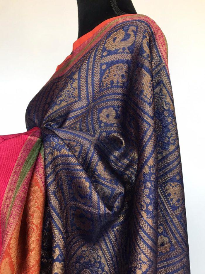 Navyblue Kora Silk Saree with Gold Zari Weaves and pink border