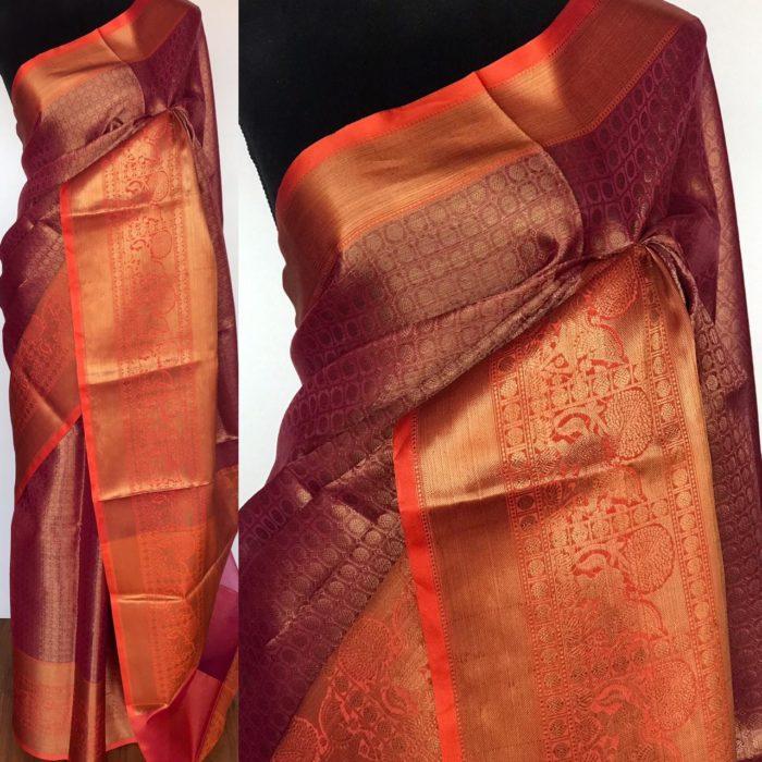 Taffy Pink Kora Silk Saree with Gold Zari Weaves