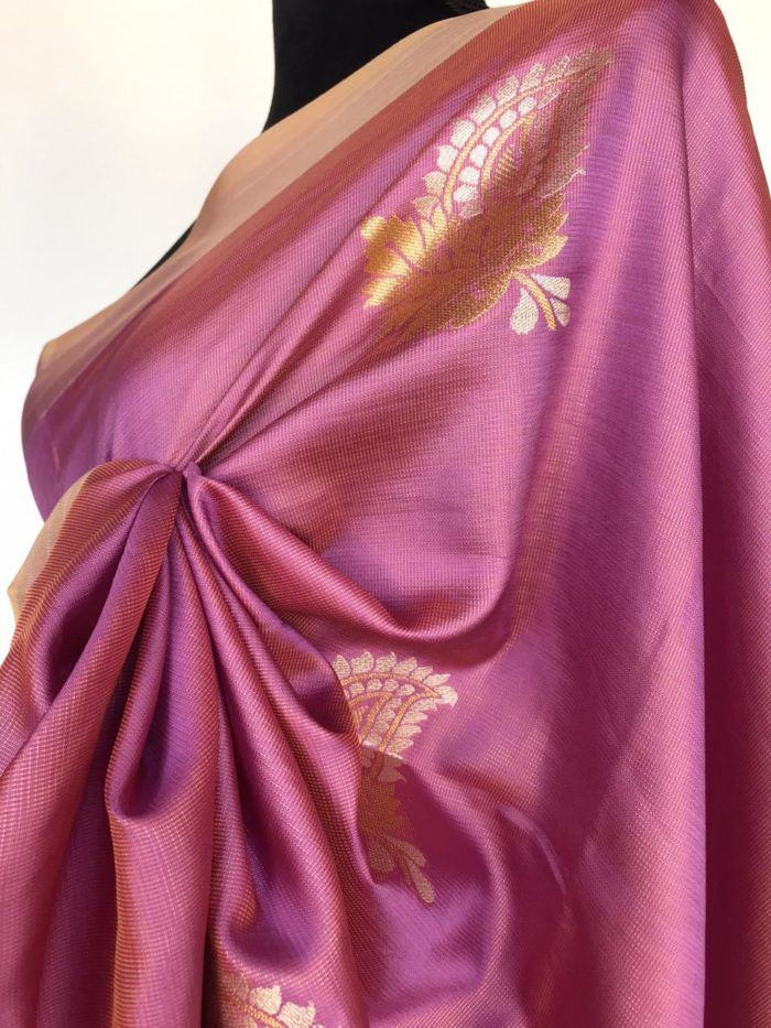 Lilac Banarasi Silk Saree with Gold and Silver Zari Weave