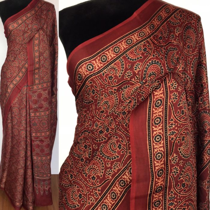 Maroon Modal Silk Saree with Ajrakh Hand Block Prints