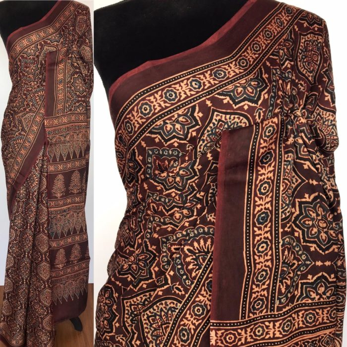 Dark Brown Modal Silk Saree with Ajrakh Hand Block Prints