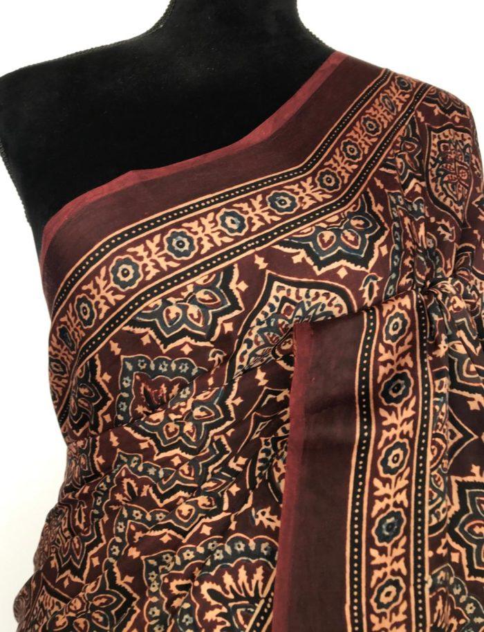 Dark Brown Modal Silk Saree with Ajrakh Hand Block Prints