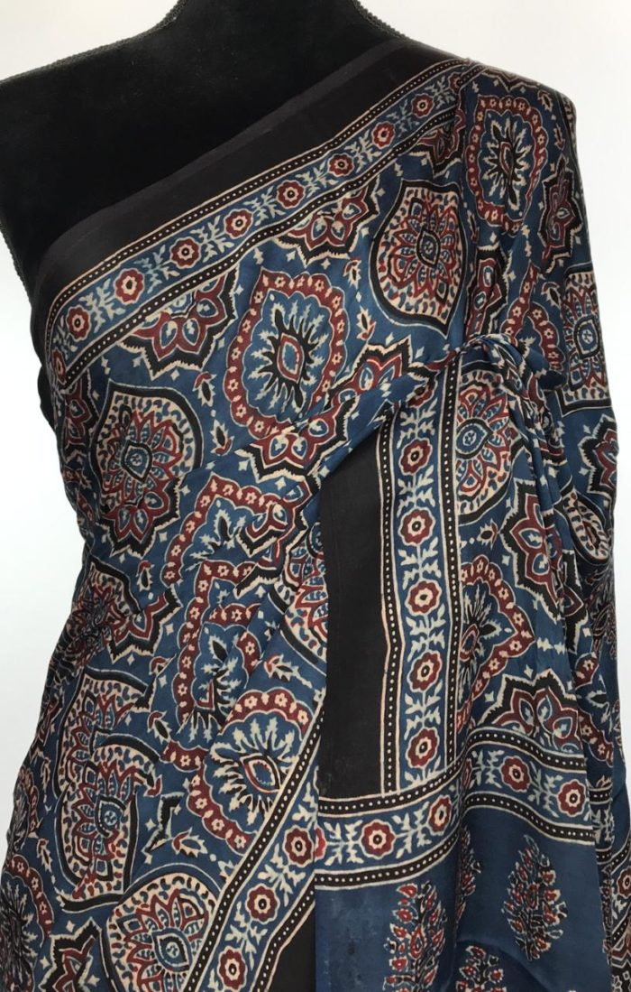 Indigo Blue Ajrakh Printed Modal Silk Saree