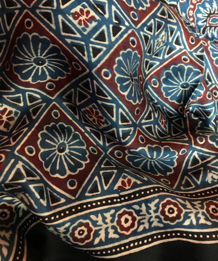 Indigo Blue Modal Silk Saree with Ajrakh Hand Block Prints