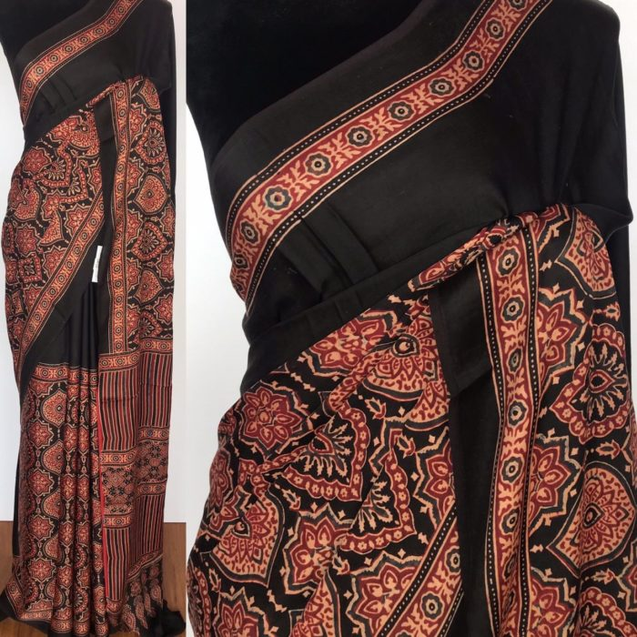 Black Modal Silk Saree with Ajrakh Hand Block Prints