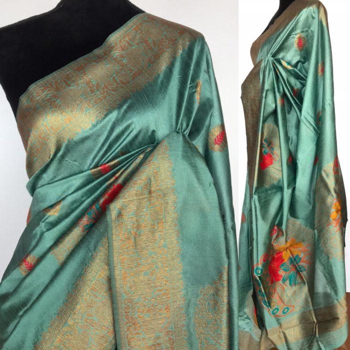 Blue Banarasi Silk Saree with Antique Zari and Meenakari Weaves