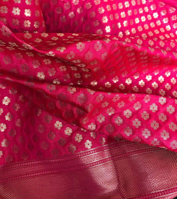 Ruby Pink Banarasi Silk Saree with Gold Zari Weaves