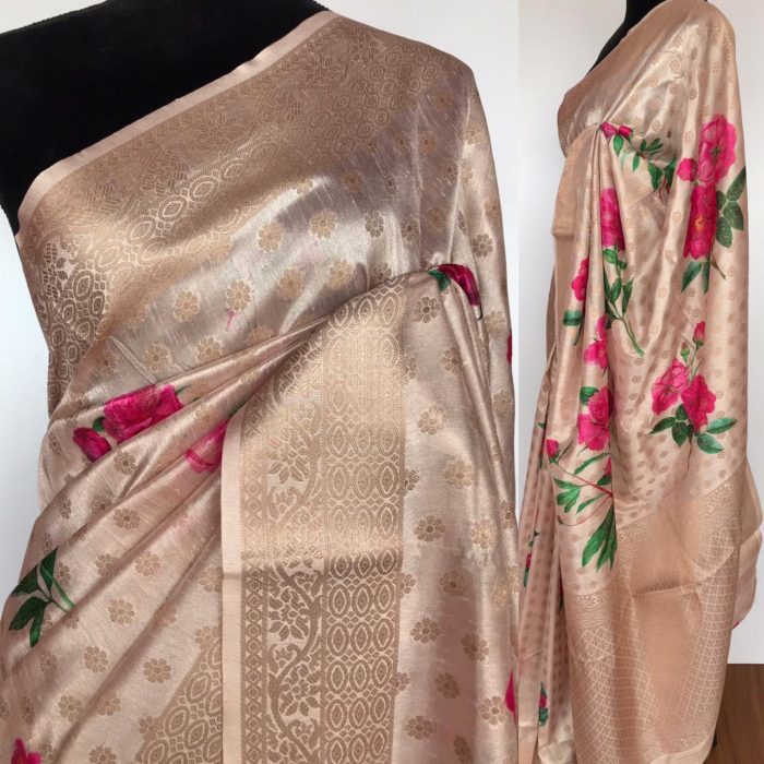 Cream Cotton Silk Saree with Printed Florals