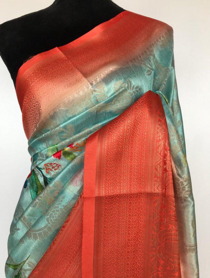 Blue Cotton Silk Saree with Printed Florals and dark orange border