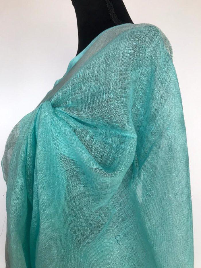 Baby Blue Linen Saree