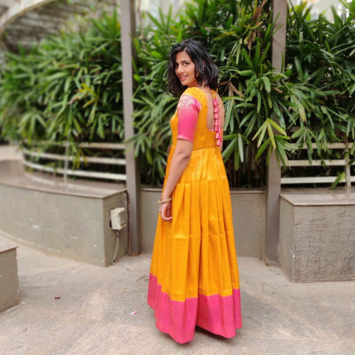 Yellow Banarasi Silk Dress