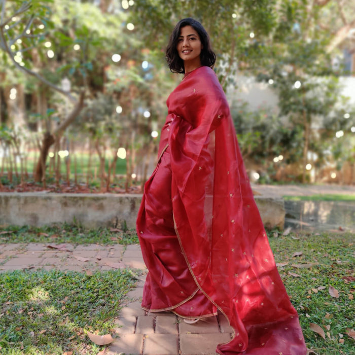 Maroon Organza Saree with Intricate Zardozi Embroidery