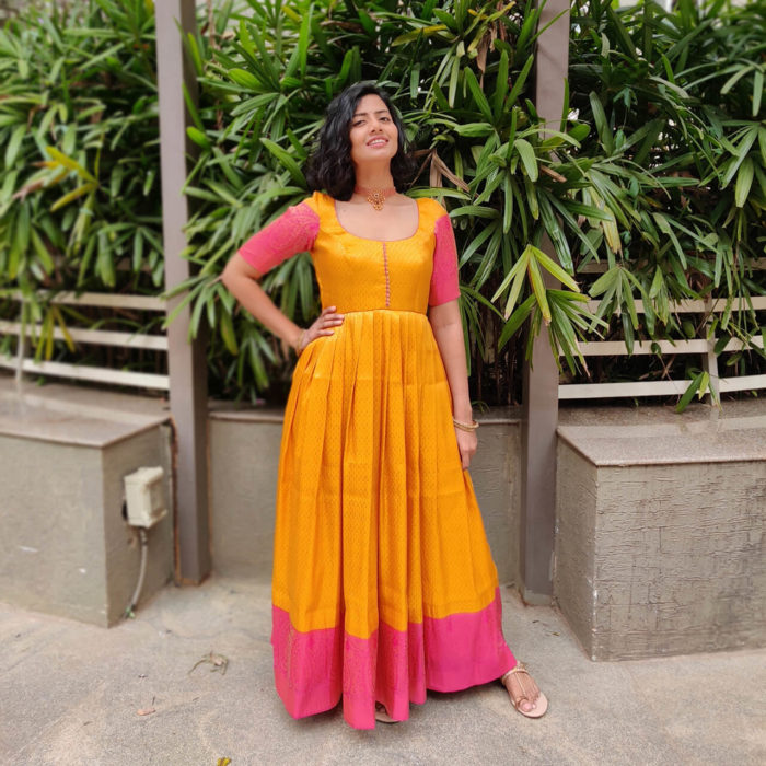Yellow Banarasi Silk Dress