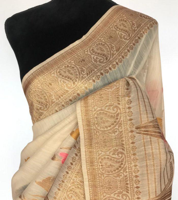 Cream Cotton Silk Saree with Antique Gold Zari Weaves