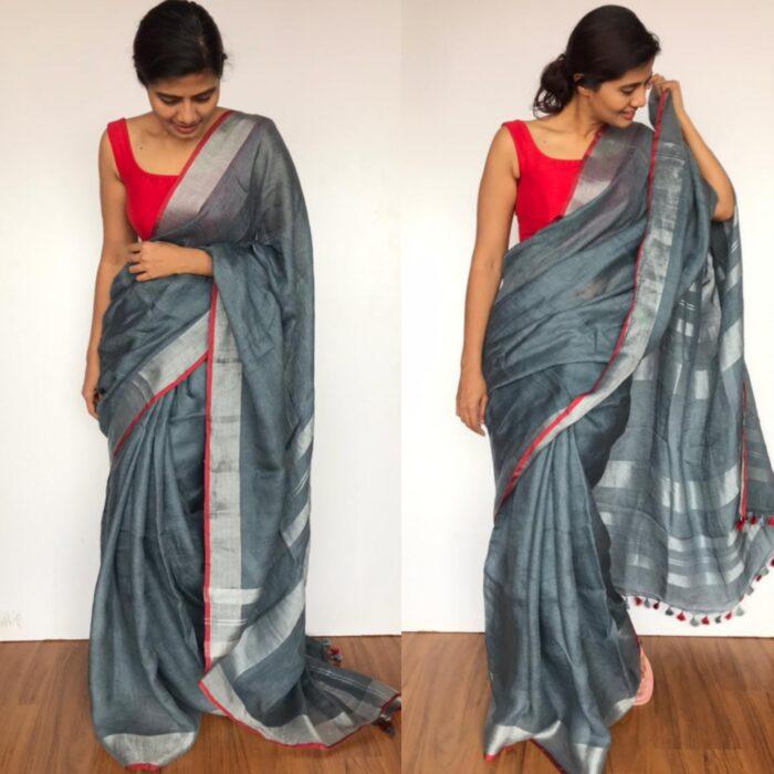 Handwoven Dark Grey Linen Saree