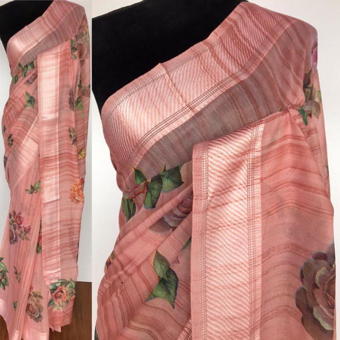 Salmon Pink Linen Cotton Saree with Floral Prints