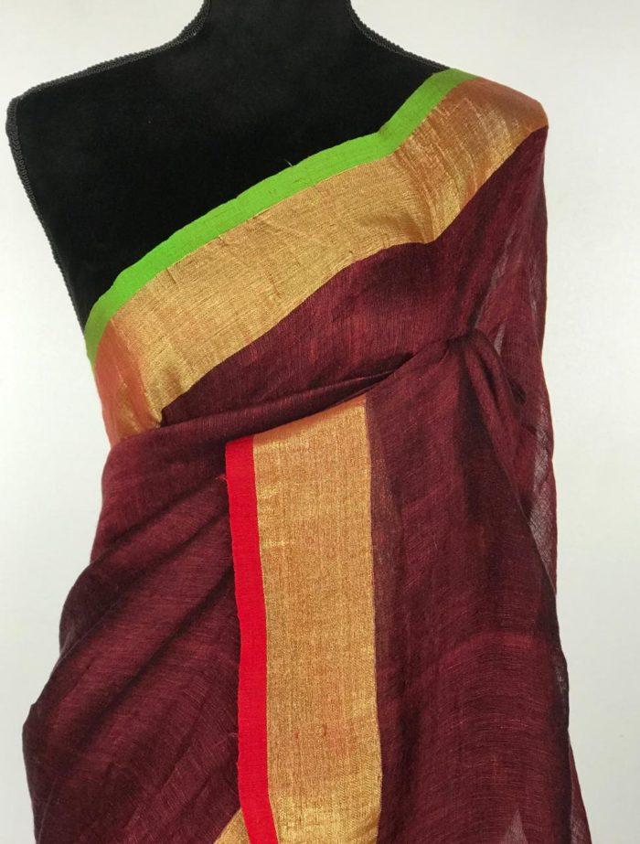 Maroon Linen Saree with green pallu