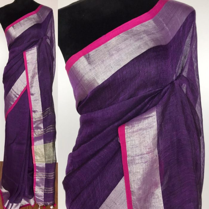 Purple Pure Linen Saree with pink selvedge