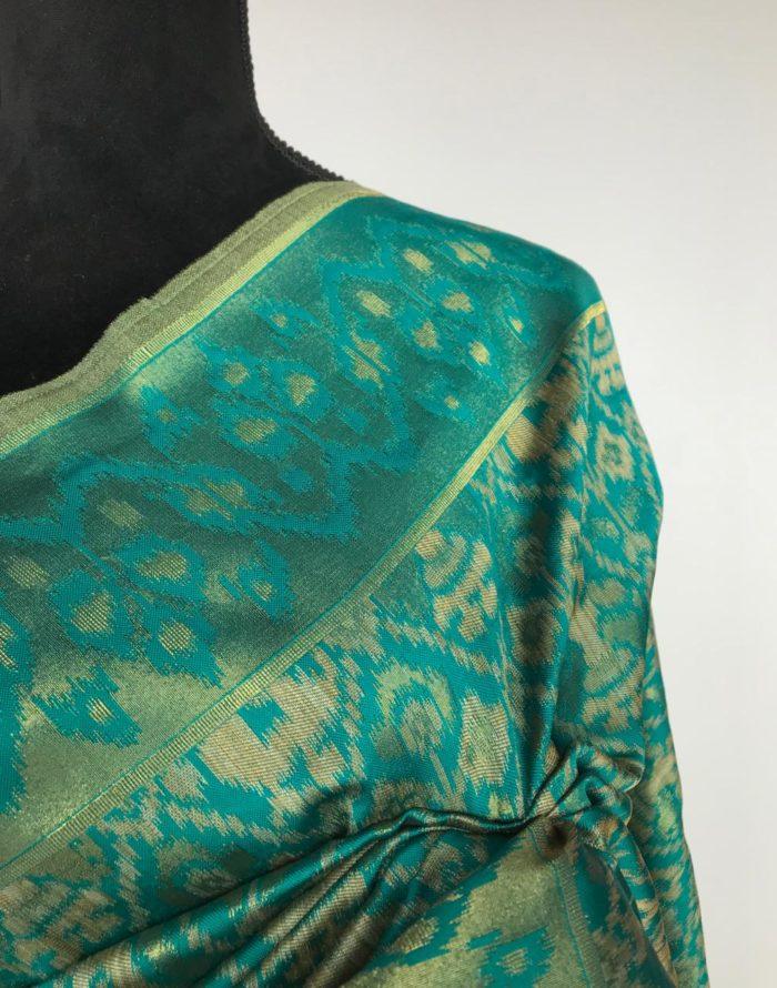 Teal Jute Silk Saree with Kotki Weaves