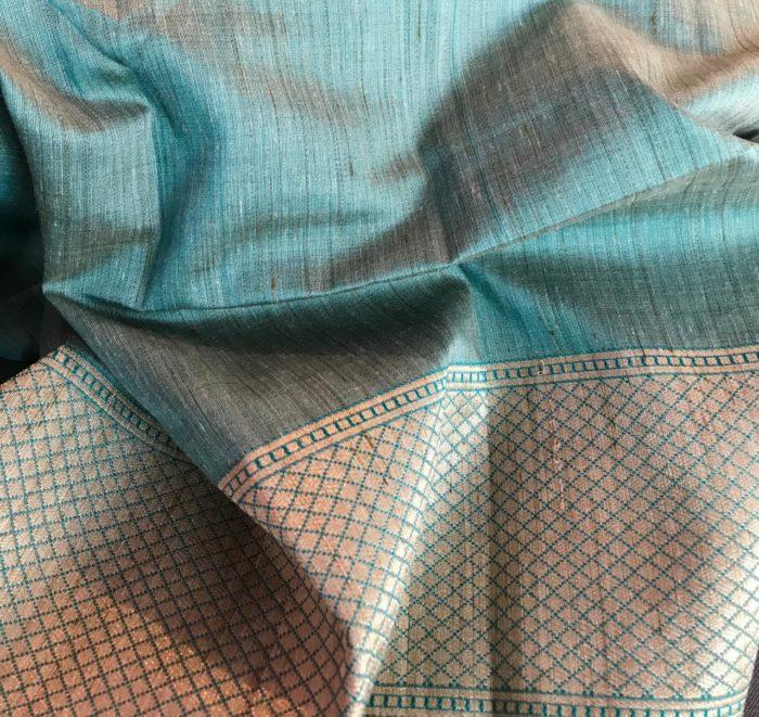 Teal Blue Jute Silk Saree with Woven Elephant Motifs